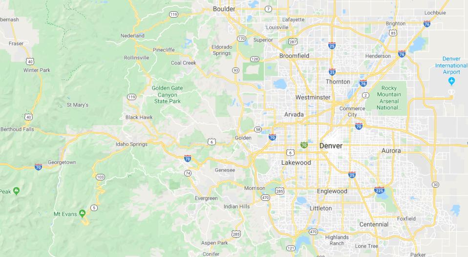 Google Map of Denver, CO